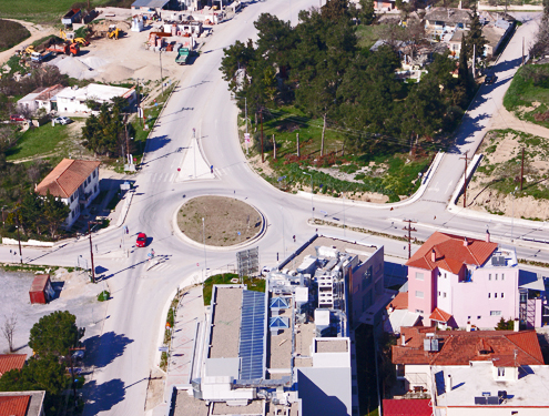 Development of the entrance-exit junction of N. Kallikrateia and asphalt paving of the wider area of Western Chalkidiki. Project body: directorate of technical services of the prefectural administration of Chalkidiki.